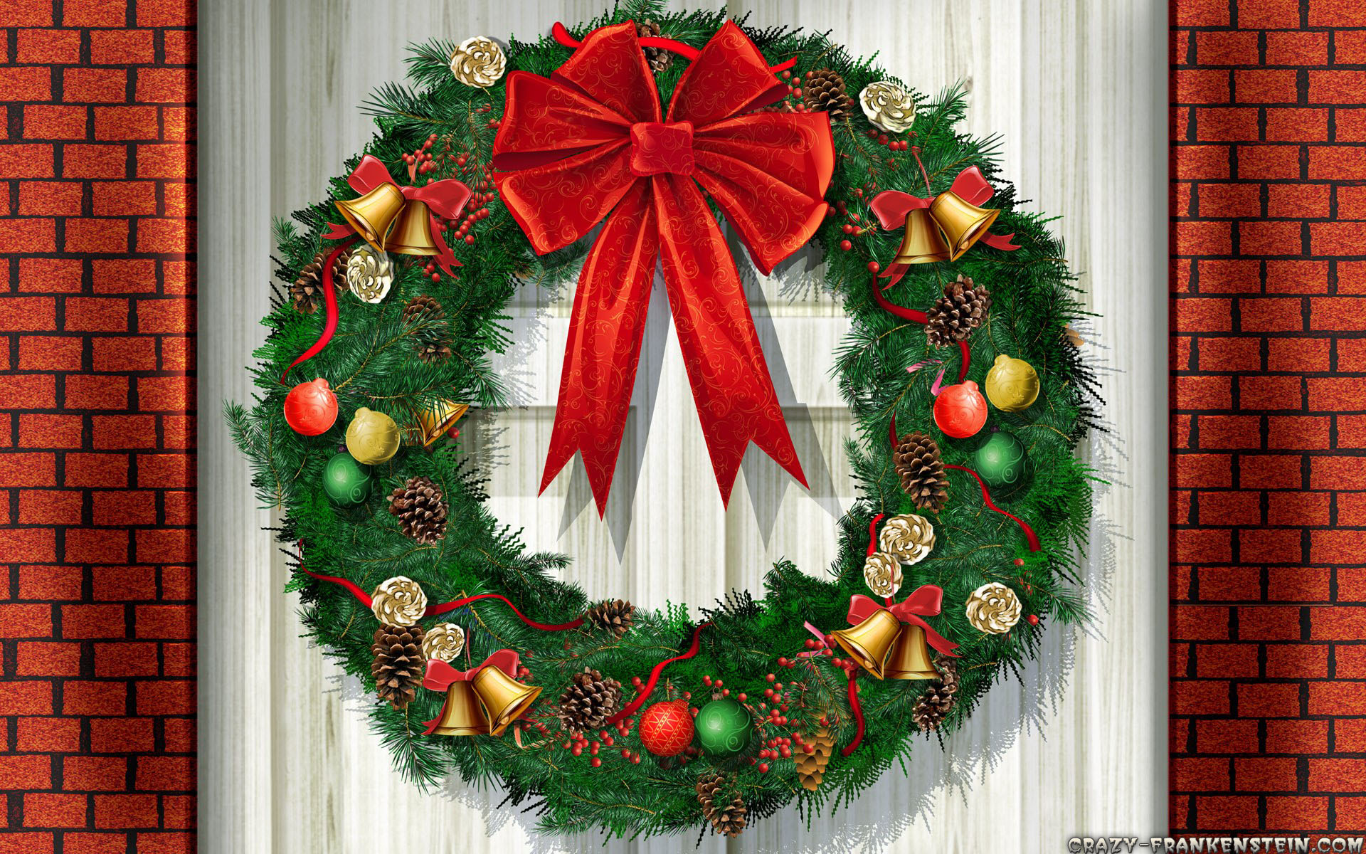 christmas-wreath-at-door-ornaments-wallp