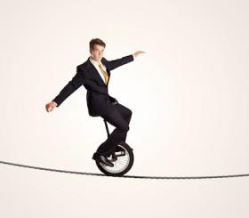 Man on unicycle