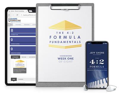 The 4:2 Formula Fundamentals workbook, audio book & course portal in an ipad