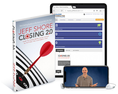 Closing 2.0 book, course portal in an iPad and video of Jeff playing in an iPhone